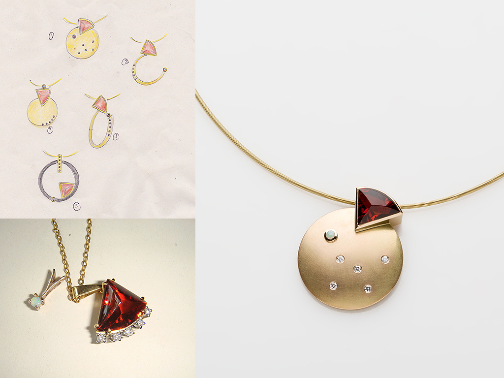 Pendant 18kt yellow gold, stones from client: garnet, opal, diamonds on 18kt gold coil