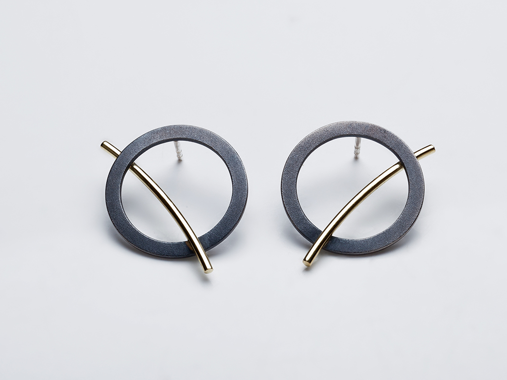 Earrings oxidized sterling silver, 18kt yellow gold