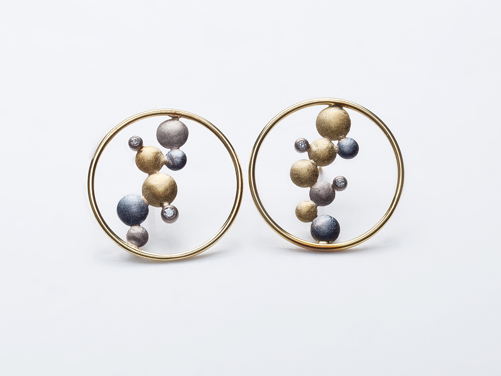 Earrings 18kt yellow and white gold, oxidized sterling silver, diamonds 0.05ct