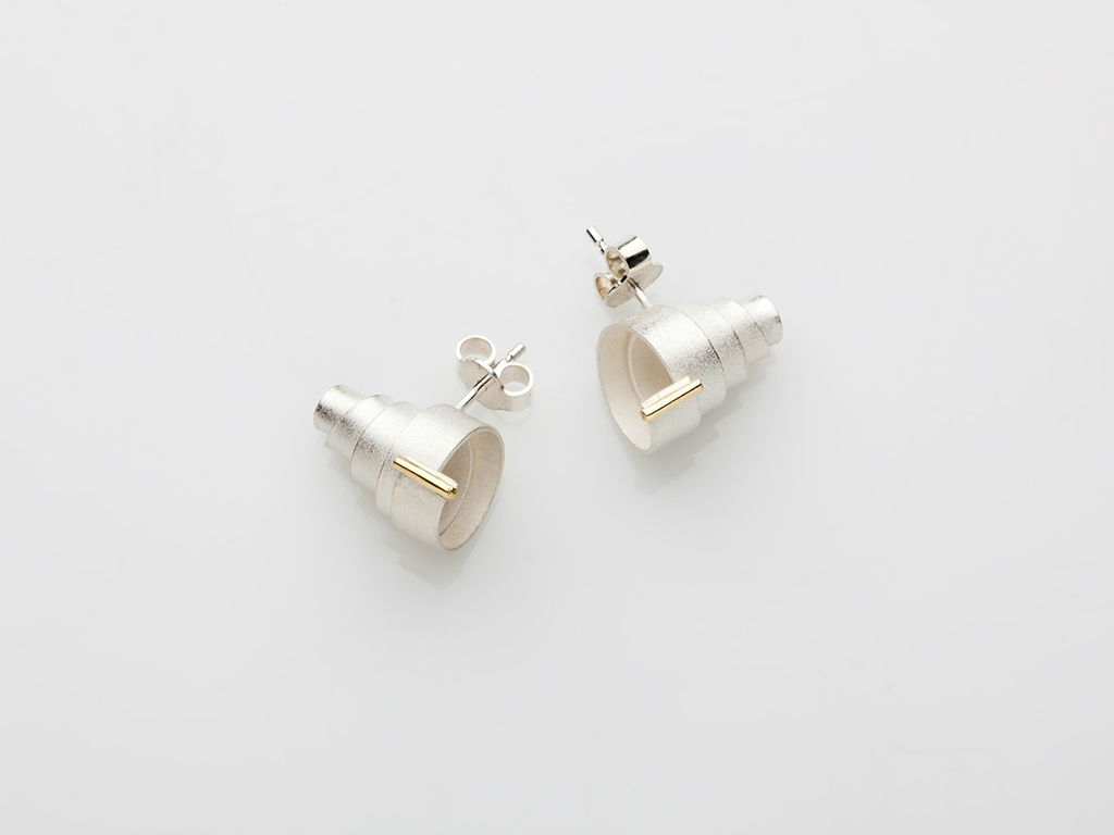 Earrings sterling silver, 18kt yellow gold