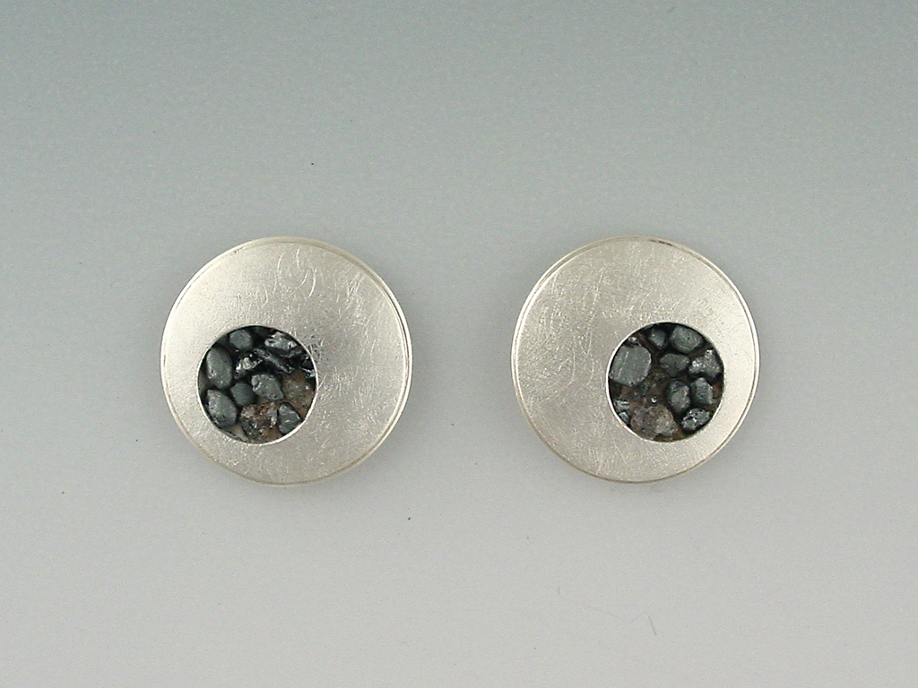 Cufflinks sterling silver, iron ore