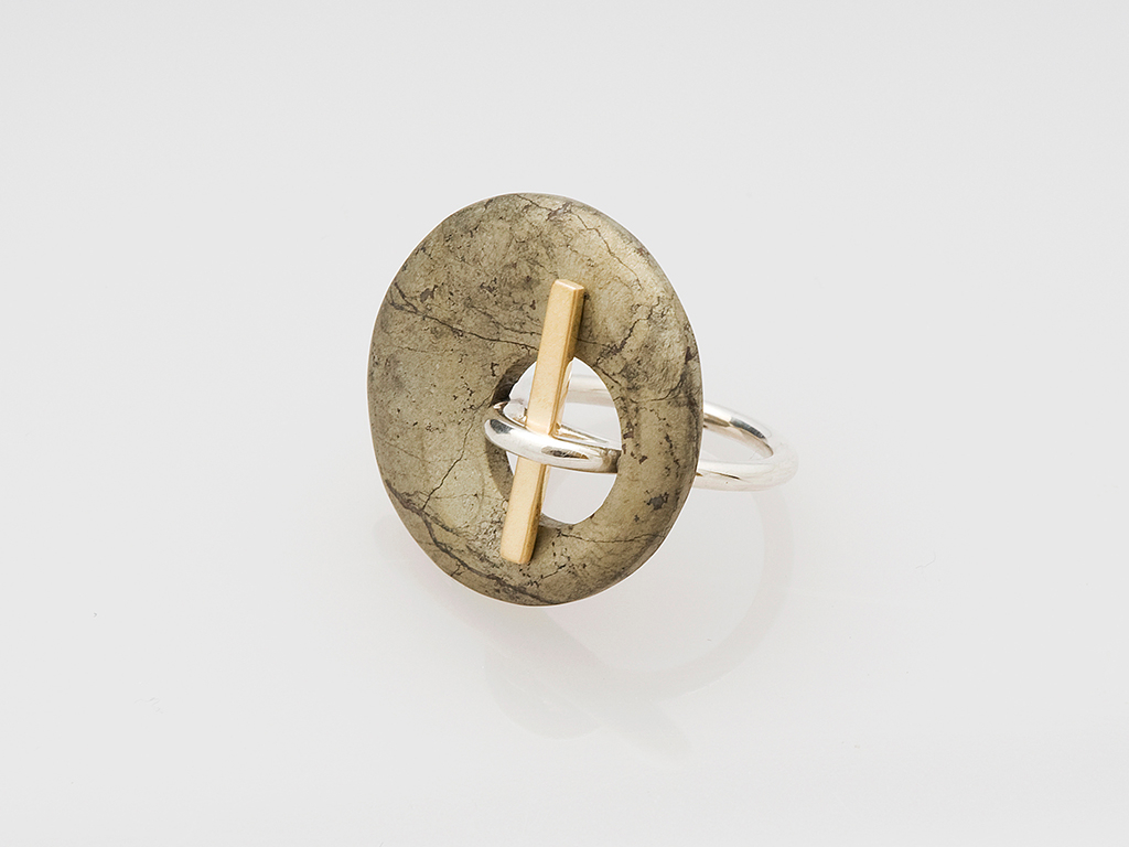 Ring sterling silver, 18kt yellow gold, pyrite